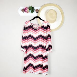 Heart Soul Chevron Print Lattice Back Shirt Dress